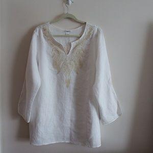 August Silk White/Cream 100% Linen Tunic 1X